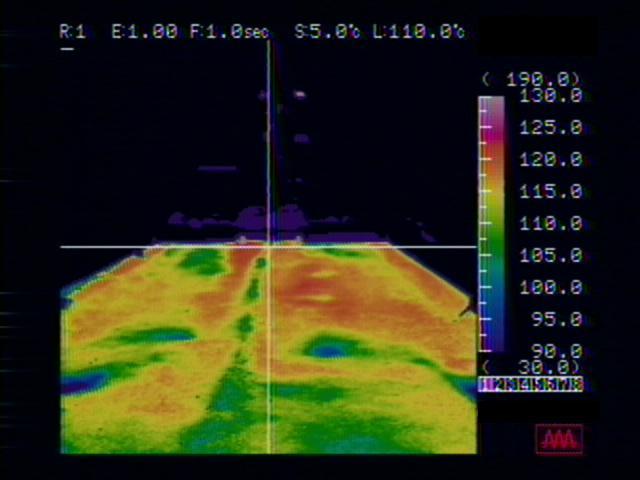 画像:サーモグラフィーによる温度測定状況